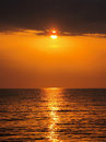 Gold sunset over the sea Stock Image