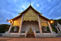 Gold temple inside wat chedi luang chiang mai dusk view of which is a buddhist in the historic centre of thailand Stock Photography