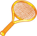 Gold tennis racket illustration Royalty Free Stock Photos