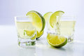 Gold tequila with lime. Royalty Free Stock Images