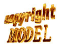 Gold text copyright model on white background