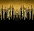 Gold texture lines decoration on the black background. Horizontal seamless pattern.