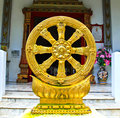 Gold Thammachak Symbol of Buddhism Royalty Free Stock Photo