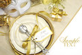 Gold theme elegant Happy New Year dining table place settings Royalty Free Stock Photo