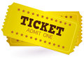 Gold ticket coupon white vector illustration Stock Images