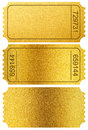 Gold tickets stubs isolated on white with clipping path Royalty Free Stock Photo
