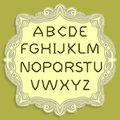 Gold titular letters. Vector simple alphabet. Gold font placed on a yellow vintage card.