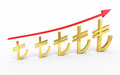 Gold tl signs graphic d render on white and clipping path Stock Image