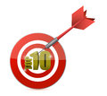 Gold top ten target and dart illustration design over white Royalty Free Stock Image