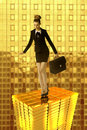 The gold tower and business woman wearing dark formal suit taking bag stayng on town Stock Image