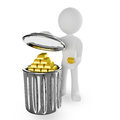 Gold in trash d render Royalty Free Stock Image