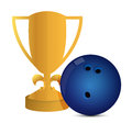 Gold trophy cup bowling on a white background Stock Images