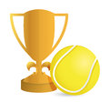 Gold trophy cup tennis on a white background Stock Images