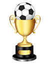 Gold trophy with soccer ball isolated ilustratin of a cup a black and white on it Stock Images