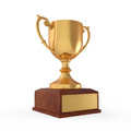 Gold trophy on white background d render Royalty Free Stock Image