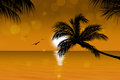 Gold tropical sunset golden background with palm trees birds and sunny blurrs Royalty Free Stock Photo
