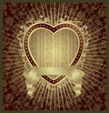 Gold valentine heart medallion Stock Images