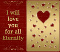 Gold valentines heart card Royalty Free Stock Photography