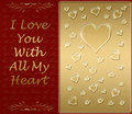 Gold valentines heart card Royalty Free Stock Image