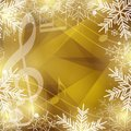 Gold vector background with music notes and snowflakes for christmas