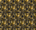 Gold vector pattern with heart in art deco style.