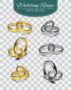 Gold vector wedding rings isolated on trasparent background. Vector illustration. Marriage invitation elements. Royalty Free Stock Photo