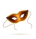 Gold venetian carnival mask on white background Royalty Free Stock Photography