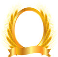 Gold vignette with ears of wheat Stock Photos