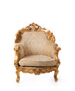Gold vintage armchair on white background Royalty Free Stock Photography