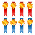 Gold vintage badges with ribbon. Stock Photography