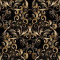 Gold vintage floral seamless pattern. Vector black background wi Royalty Free Stock Photo