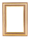 Gold vintage frame elegant vintage gold gilded picture frame wi with beading isolated on white Stock Images