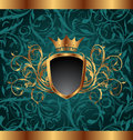 Gold vintage frame with heraldic elements Royalty Free Stock Image