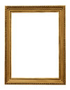 Gold vintage picture frame isolated on white background. Royalty Free Stock Photo