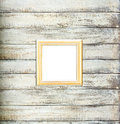 Gold Vintage picture frame on old wood background Royalty Free Stock Photo