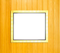 Gold Vintage picture frame on wood background Royalty Free Stock Image
