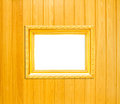 Gold Vintage picture frame on wood background Royalty Free Stock Photo