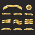 Gold vintage ribbons in retro style vector set. Part three.