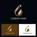 Gold water drop abstract logo