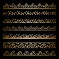 Gold wavy borders set of ornamental lines on black Royalty Free Stock Photo