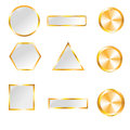 Gold web buttons for design vector set Royalty Free Stock Images