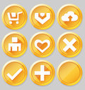 Gold web icons vector illustration eps Royalty Free Stock Photography