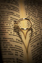 Gold wedding Ring on a bible Royalty Free Stock Photo
