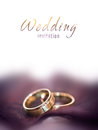 Gold wedding rings caed on a big brown leaf card Stock Photo