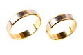Gold wedding rings close up Royalty Free Stock Image