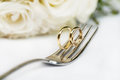 Gold wedding rings pair of Royalty Free Stock Images