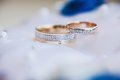 Gold wedding rings on the pincushion Royalty Free Stock Photo