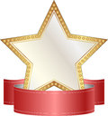 Gold and white star with red ribbon Royalty Free Stock Photo