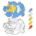 Gold wish fish coloring book. Vector cartoon illustration for kids book. Royalty Free Stock Photo