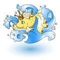 Gold wish fish on waves. Vector cartoon illustration for kids book. Royalty Free Stock Photo